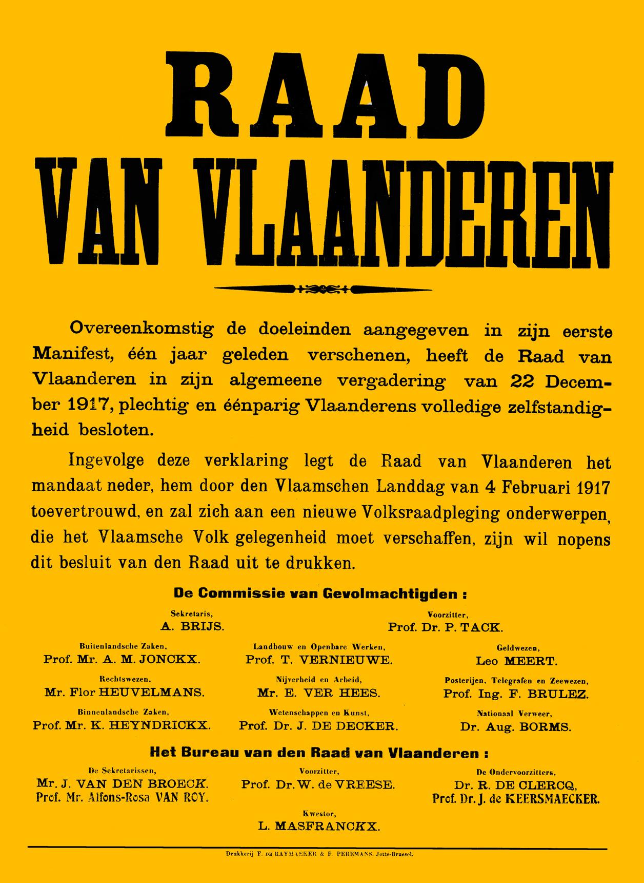 Raad van Vlaanderen 22 december 1917 afkondiging zelfstandigheid.